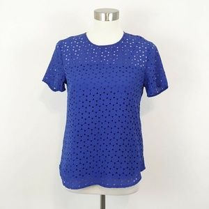 Banana Republic Perforated Short Sleeve Blouse Top